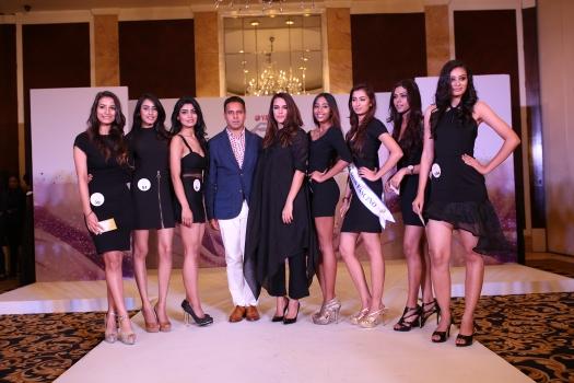 Designer Shantanu and Actress Neha Dhupia announcing the 7 finalists of Yamaha Fascino Miss Diva - Miss Universe India 2016 from Delhi auditions today at Shangri-La's Eros Hotel.