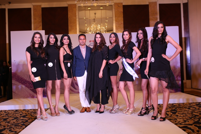 Designer Shantanu and Actress Neha Dhupia announcing the 7 finalists of Yamaha Fascino Miss Diva - Miss Universe India 2016 from Delhi auditions today at Shangri-La's Eros Hotel.