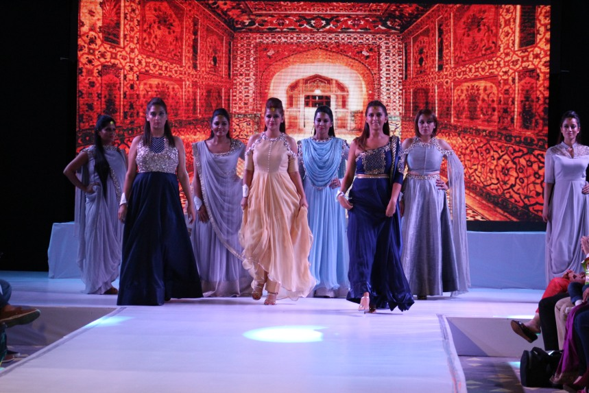 Contestants walking the ramp in designer Nidhika Shekhar