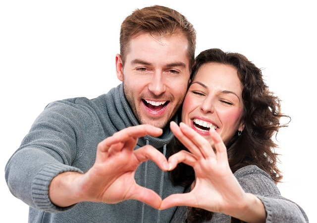 Valentine Couple. Portrait of Smiling Beauty Girl and her Handso