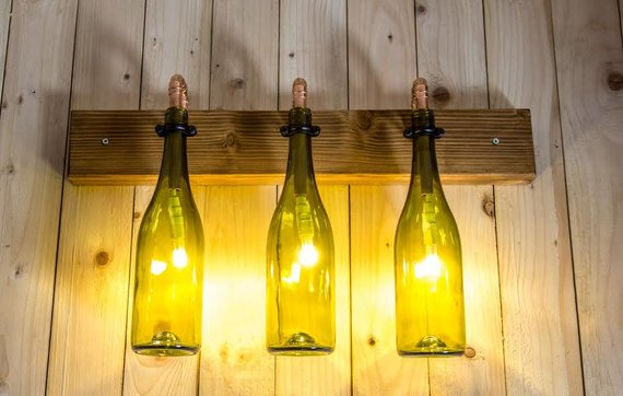 old bottles kitchen lights